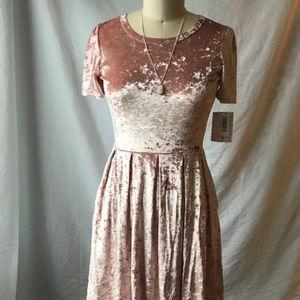 NWT Lularoe pink velvet elegant Amelia dress